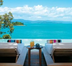 """Todays winning pool for """"swimming with scenery"""" is. Qualia Resort in Australia! """"A private world of sensory perfection"""", the hotel situated on the secluded northern-most tip of Hamilton Island & surrounded by all the the Great Barrier Reef! Great Barrier Reef, Sunshine Coast, Sunshine State, Best Resorts, Hotels And Resorts, Luxury Resorts, Bora Bora, Dream Vacations, Vacation Spots"""