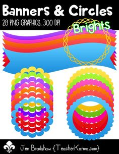 Graphics:  Banners & Circles clip art.  These bright graphics are perfect for Teachers Pay Teachers sellers, educational products, and classroom decor.  Commercial and personal use is ok.  TeacherKarma.com