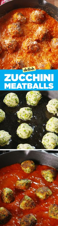 Zucchini meatballs - an awesome meat substitute for the vegetarian who loves spaghetti and meatballs!Healthy Zucchini Meatballs- shredded zucchini in meatball form. Use gluten free bread crumbs. (This was tasty but messy, my Zucchini balls did not st Zucchini Meatballs, Parmesan Meatballs, Meat Substitutes, Cooking Recipes, Healthy Recipes, Meal Recipes, Cheese Recipes, Easy Cooking, Pasta Recipes