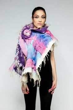 www.nadinsmo.com **PURPLE ICE CREAM** Handmade wool felted scarf wrap prom pure merino wool,chiffon,silk-chiffon by Nadin Smo wool felting