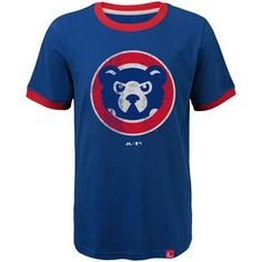 Chicago Cubs Majestic Youth Baseball Stripes Cooperstown Collection Ringer T-Shirt - Royal