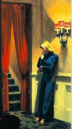 Oooh. This is an evocative, moody glam-ish painting by Hopper that I've never seen. Hopper - New York Movie, 1939