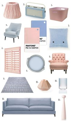 The Design Sheppard - Pantone Colour of the Year 2016 Rose Quartz & Serenity - Products for the Livingroom