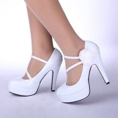 Shoes high-heeled shoes white wedding shoes
