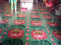 Colourful patterned floor at Kek Lok Si Temple