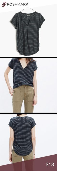 Madewell Top Madewell Split-Neck Tee, striped in a deep green. Wonderful classy casual top. Barely worn, like new condition. Madewell Tops