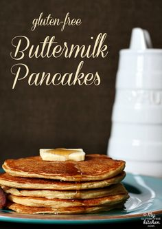Gluten-free Buttermilk Pancakes - made with almond flour and millet! These are amazing!   #easy #gluten #free #breakfast #recipes