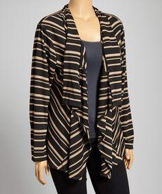 Black & Taupe Thin Stripe Open Cardigan - Plus #zulily #zulilyfinds