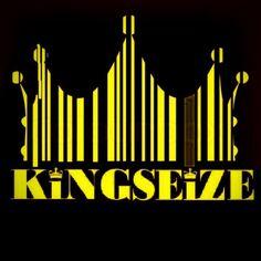 Kingseize black and yellow crown design logo.