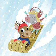 Mouse and Deer - Sledding, A winter Love story of a mouse and deer.