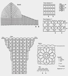Gráficos:     Tamanho 42/44 Material Pingouin Tropfil: 2 bolas branco (002); ag. para crochê Pingouin n° 2; 9 botões. Pontos empregados C...
