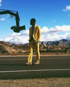 Frank Ocean, on the set of Forrest Gump music vid