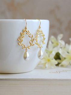 Ivory Cream Pearl Earrings Gold Bridal Earrings Laurel by LeChaim