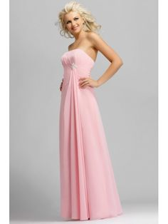 A-line Strapless Floor Length / Long Pink Chiffon Bridesmaid / Evening / Wedding Party Dresses