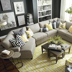 Available as a left or right sectional. Shown with additional round accent pillow(sold separately).