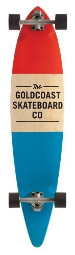 """Goldcoast Complete Longboard Skateboard (Standard Red) by Goldcoast. $155.00. The Floater Shape. 7 Ply Canadian Maple. Leave As Is. Printed and Die Cut Grip Tape. GoldCoast Urathane Division:  Shred Boot Wheels, 70mm, 85a with Genuine GoldCoast A7 Bearings. 26"""" Wheelbase & Century 179mm Reverse Pivot Trucks containing 93a bushings with Raw Tumbled Finish & 0.5"""" Flat Risers. The Floater Shape 44"""" L x 10"""" W. From the Manufacturer                Stock Blocked. We ..."""