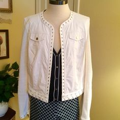 White Vegan Leather & Crochet Jacket This is s great jacket by Lena Gabrielle. Size 12. Open design. Fishermens net style crochet mixed with vegan leather. Gold grommet and lacing details with suede trim. Lena Gabrielle Jackets & Coats Jean Jackets