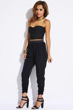 #1015store.com #fashion #style black ruched harem parachute pants-$15.00