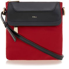 Furla Pop Red Small Bandoliera Bag ($74) ❤ liked on Polyvore featuring bags, handbags, red, red crossbody purse, nylon purse, furla purses, red purse and furla handbags