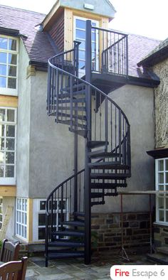 Outdoor staircases -  Spiral is the best kind. :)