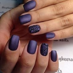 deep violet matte nails with an accent black lace nail look wow #GorgeousNailIdeas #NailswithanAccent