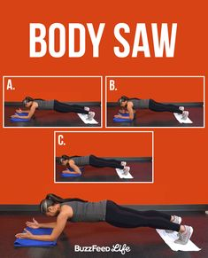 Get into a forearm plank position with your elbows under your shoulders and your palms facing each other. (Use a rolled up mat or pillow to cushion your elbows.) Your body should make a straight line from your head to your heels. Place your toes on a towel and use your abs to pull your feet toward your head.