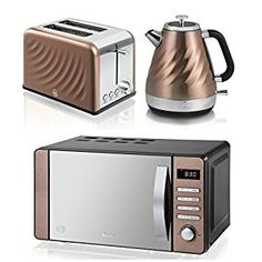 Swan Kitchen Liance Copper Townhouse Set 20 L Digital Microwave 1 6l Swirl Twist Kettle And 2 Slice Toaster Co Uk