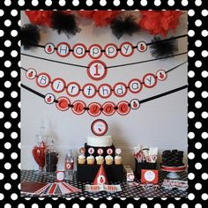 ladybug party - Banner and Tulle Pom Poms! 1st Birthday Girls, First Birthday Parties, Birthday Ideas, Happy Birthday, Ladybug 1st Birthdays, First Birthdays, Ladybug Party, Ladybug Decor, Little Pony Party
