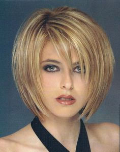 Layered bob haircut. Good for fine textured hair.