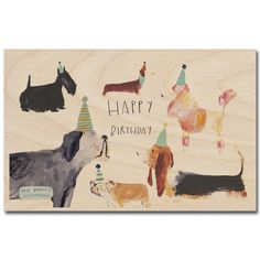 Birthday Dogs Wooden Postcard By Timbergram