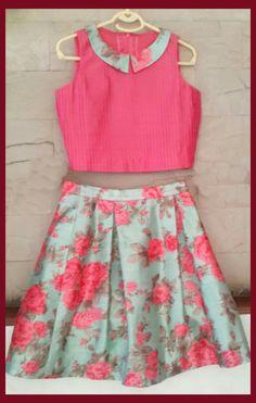 Ideas for floral lehanga Kids Frocks, Frocks For Girls, Little Girl Dresses, Kids Dress Wear, Kids Gown, Kids Ethnic Wear, Kids Blouse Designs, Girls Frock Design, Kids Lehenga