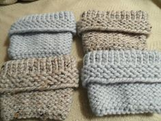 2 pairs of boot toppers made on a loom . Made on loom with 30 pegs , used thick yarn to show knit ,purl stitch the e wrapped until 7 inches long. Turn inside out to see k p stitch over boot top .