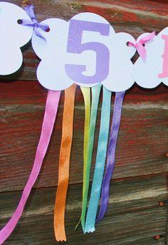 Clouds & Rainbows Birthday Banner