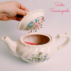 This is such a sweet idea - tea pot pincushion! #DIY #crafts