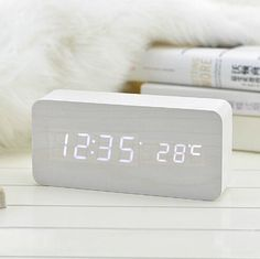 LED Display Temperature Digital Wood Wooden Snooze Alarm Clock Sound Control (white+white light)