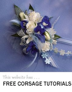 Blue wrist corsage - click on photo to find free flower tutorials and buy DIY corsage supplies