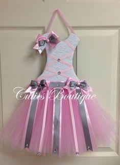 Tutu Vestido de pelo arco porta bebé gris rosa por CutiesBoutique