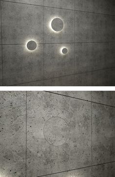 Night light built into concrete wall, made with recycled glass thin circular bulbs, by danius