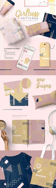 Girlboss Patterns by Youandigraphics on @creativemarket