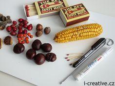 tvoření z kaštanů, kukuřice a dalších přírodnin Vegetables, Creative, Food, Veggie Food, Vegetable Recipes, Meals, Veggies