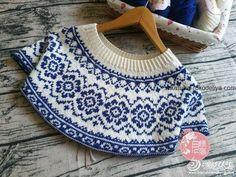 Jacquard pattern for round yoke knitting needles Fair Isle Knitting Patterns, Knitting Stiches, Loom Knitting, Knitting Needles, Knit Patterns, Baby Knitting, Crochet Baby Poncho, Knit Crochet, Norwegian Knitting