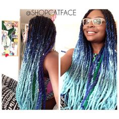 Cat Face Ombre Braiding Hair Black Lilac And Grey