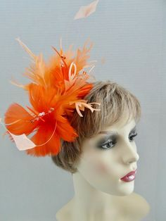 Orange Wedding, Fascinators, Ladies Day, Hair Band, Crystal Beads, Silver Color, Mother Of The Bride, Headpiece, Special Occasion
