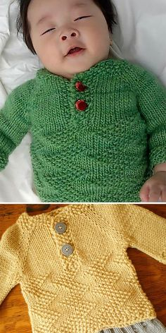 Free Knitting Pattern for Easy Baby Henley Sweater - Pullover henley baby pullover knit with a British Moss Stitch in a zig zag pattern. Mossy Sweater is knit in one piece from the top down. Sizes Rated easy by Ravelrers. Designed by Jolene Lye. Knitting Patterns Boys, Baby Sweater Patterns, Baby Cardigan Knitting Pattern, Knitted Baby Cardigan, Knit Baby Sweaters, Knitting For Kids, Baby Patterns, Free Knitting, Baby Knitting