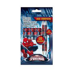 Maak de mooiste tekeningen met deze duo-markers van Spiderman. De set bevat 10 viltstiften met in totaal 20 kleuren.Afmeting: lengte 17 cm - Spiderman Duo-Markers, 10st
