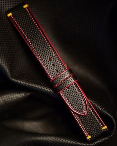 Ultra custom perforated calf and shell cordovan with red contrasting stitching and edges, yellow shoulder stitch.