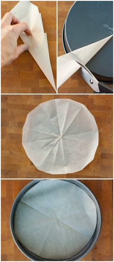 Baking Hack How to Line Parchment Paper Into Round Pan Perfectly. #Baking, #Trick => http://www.fabartdiy.com/baking-hack-line-parchment-paper-round-pan-perfectly/