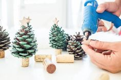 Set up a little pine tree forest on the mantle this holiday season.