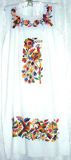 Vintage Mexican Dress, Hand Embroidered Peacocks.  I love these dresses and blouses. Comfortable, colorful, and cool.