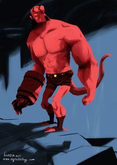 Aquí el sr. Hellboy. Sigo intentando aprender a pintar conCLIP STUDIO PAINTHe encontrado un pincel con el que estoy cómodo, así que voy a ver si le cojo el tranquillo a esto.  Mr. Hellboy. Trying to learn digital painting with Clip Studio Paint (aka Manga Studio).